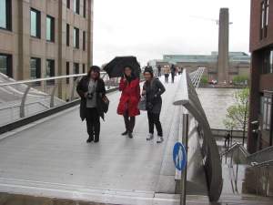 Crossing the Millenium Bridge. Photo from Abbey's files.